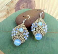 Hey, I found this really awesome Etsy listing at https://www.etsy.com/listing/218387974/opalite-macrame-earringsfairy