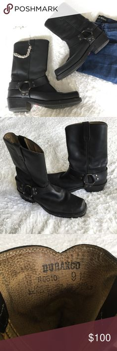 Durango Leather Harness Moto Boots Black leather Durango moto boots in like new condition! They've only been worn once or twice. Soles are in near perfect condition. Size 9.   🛍 Bundle & Save: 20% off 2+ items!  🙅🏻 No trades / selling off Posh.  ✔️ Reasonable offers always welcome. Durango Shoes Combat & Moto Boots