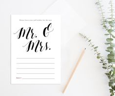 Printable Wedding Wish Cards, Wishes for the new Mr Mrs, Wedding Game, Printable Wedding Advice Cards, Printable Wedding Guestbook