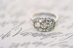 Gorgeous ring and close-up of Betsy Dunlap invitation.  Italian wedding.