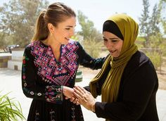 Queen Rania visited the Al Hallabat area of the Zarqa Governorate on September 11, 2017. Queen Rania met with families, educators, local representatives and small business owners. Then, the Queen visited the Western Hallabat Charitable Society. The society provides services to underprivileged families, students, women and youth. (Queen Rania wore a silk-canvas dress from Ulla Johnson Pre-Fall 2017 collection)