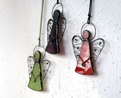 Angel ornaments, three stained glass angels in custom colors, Tiffany glass