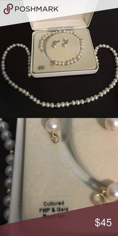 Pearl set Elegant pearl set, necklace, earrings and bracelet.  Very dainty and delicate. Jewelry