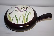Vintage Red Wing Pottery Iris Covered Casserole with Handle 1 1/4 quart