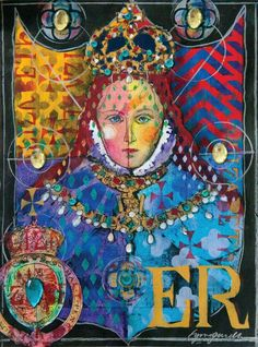Lynne Perella shares her series on Queen Elizabeth I, including this piece inspired by Elizabeth's coronation portrait inside Artists' Café: https://stampington.com/Artists-Cafe-2016-Volume-10