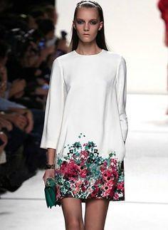 Vestidos Algodón Floral Sobre las rodillas Manga larga