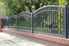 Types of walls for houses - Decor Scan : The new way of thinking about your home and interior design Grill Gate Design, Iron Gate Design, Metal Gates, Wrought Iron Fences, Brick Fence, Front Yard Fence, Steel Fence Panels, Tor Design, Modern Fence Design