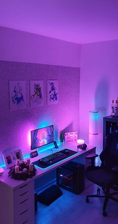 (click in photo for watch now) The best tips! Neon Bedroom, Bedroom Setup, Room Ideas Bedroom, Bedroom Lighting, Interior Lighting, Computer Gaming Room, Gaming Room Setup, Pc Setup, Cool Gaming Setups