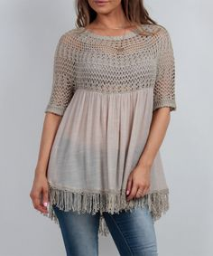 Look what I found on #zulily! Taupe Crochet & Fringe Swing Tunic #zulilyfinds
