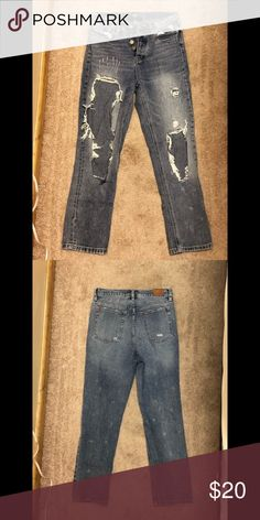 Urban Outfitters BDG High Rise Jeans -High Rise -Straight and Narrow Fit -Destroyed Style -Slightly cropped length -Machine Wash button up hidden) BDG Jeans Straight Leg High Rise Jeans, Button Up, Urban Outfitters, Best Deals, Closet, Things To Sell, Style, Fashion, Armoire