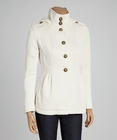 Look at this Celebrity Pink Heather Oatmeal Pleated Button-Up Jacket on #zulily today!