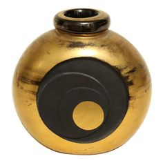 1stdibs | Art Deco Gilded and Etched Black Glass Vase by Jean Luce