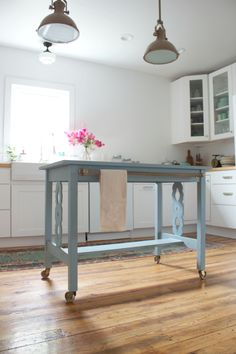 Table Turned Kitchen Island | painted with @ChalkWorthy in Dusty Miller | Dear Emmeline