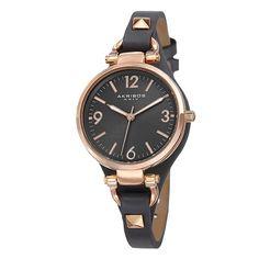 Akribos XXIV Women's Swiss Quartz Decorated Leather Thin Grey Strap Watch