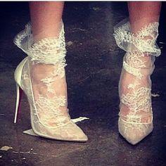 Lace socks Spring 2015 Christian Louboutin bridal show. Bridal Shoes, Wedding Shoes, Wedding Dress, Lace Wedding, Prom Shoes, Bridal Lace, Wedding Blog, Dress Shoes, Sock Shoes