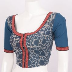 Hand Block Printed Blue Cotton Blouse With Tear Drop Back 10012021- Size 38 - AVISHYA.COM