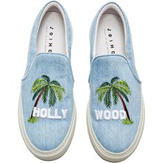 Joshua Sanders Hollywood Sign Sneakers ($350) ❤ liked on Polyvore featuring shoes, sneakers, stitch shoes, denim shoes, joshua's shoes and denim sneakers