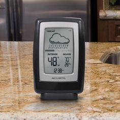 The AcuRite Digital Weather Station (00838) uses patented Self-Calibrating Technology to provide your personal forecast of 12 to 24 hour weather conditions.   The bold, easy to read LCD screen includes indoor / outdoor temperature, indoor humidity, pressure trend arrow and a clock. Display stands upright for tabletop use or is wall-mountable. The outdoor sensor features powerful wireless technology, a weather-resistant design and an integrated hanger for easy mounting. $29.99 on AcuRite.com.