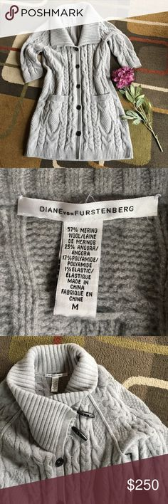 """Diane von Furstenberg cable knit cardigan🌺 Style is """"Umer"""" 🌺soft gray color🌺2 front pockets 🌺 see pic 2 for materials🌺 cardigan length shoulder to bottom approx 37"""" 🌺3/4 sleeve style🌺 Diane von Furstenberg Sweaters Cardigans"""