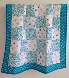 Baby Girl Quilt featuring Bundle of Joy by Timeless Treasures Aqua Blue Purple Red Yellow Green White Quilting Projects, Quilting Designs, Quilting Tips, Sewing Projects, Sewing Ideas, Baby Girl Quilts, Girls Quilts, Quilt Baby, Twin Quilt
