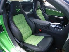 synergy green corvette, with lime green and black interior. The Corvette Guys: July 2010 Camaro Interior, Prehung Doors, Panel Doors, Corvette, Chevy, Car Seats, Guys, Wall Sconces, Lime