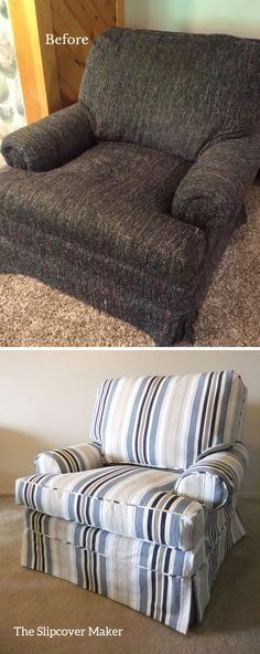 A slipcover makeover did wonders for this old, frumpy chair. Woven striped canvas perfect for the cottage.