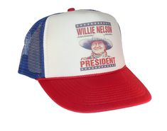 8d60863f36419 Willie Nelson for President Hat Trucker Hat snap back adjustable one size  fits most red white blue