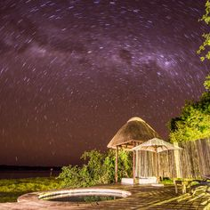The stars are unbelievable here! You can see the Milky Way and the Southern Cross from your room. This also is a photo of the sala/day bed and private plunge pool for one of our Presidential Suites named Kansanshi Plunge Pool, Milky Way, Camps, Daybed, Lodges, Destinations, Southern, Stars, Room