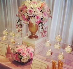 "Any #Brides love smelling good? Well why not give your #wedding guest a personalized bottle of your own custom scent  How chic is this ""Perfume Bar""?? #florals #roses #pink #blush #gols #perfume #bar #weddingwednesday #centerpieces #inspiration #paris"