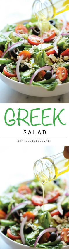 This healthy Greek salad is so easy to whip up, and it's absolutely amazing when tossed in a light and refreshing lemon vinaigrette!