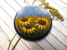Needle felted embroidery brooch Sunflower by FeltAccessories