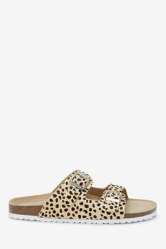 Buy Animal Print Leather Double Buckle Sandals from the Next UK online shop Strap Sandals, Wedge Sandals, Gladiator Sandals, Brunch Outfit, Online Fashion Stores, Uk Online, Chic Outfits, Espadrilles, Slip On