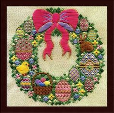 "The Springtime Wreath is a design in Laura J. Perins Sampler Collection. This wreath is created with colorful Easter eggs and also features a little chickie and bunny. The stitch count is 188 x 188 with a design size of 10.5"" x 10.5"". Supplies Required: 17"" (6"" included for finishing) 18-count Eggshell with Gold Flecks canvas (1285-028) DMC Floss: 3828, 727"