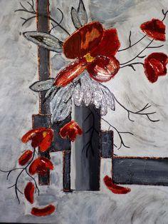 tableau moderne coquelicots en rouge et noir peinture. Black Bedroom Furniture Sets. Home Design Ideas