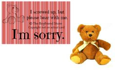 """Please Bear With Me"" Card and Bear   Girlfriend Gift Ideas  The Boyfriend Store  www.the-boyfriend-store.com I Screwed Up, Boyfriend Stuff, Girlfriend Gift, Cute Gifts, I Card, Winnie The Pooh, Stuff To Do, Teddy Bear, Gift Ideas"