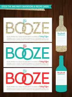Personalized 'Stock The Bar' Couples Shower Invitation & Recipe Card on Etsy, $30.00