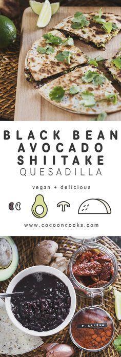 Black Bean & Avocado Quesadillas with Grilled Shiitake