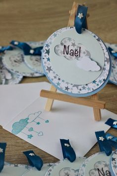 Faire part de naissance rond Nuage et étoiles Et son enveloppe coordonnée Clouds Pattern, Scrapbooking, Little White, Christening, Cardmaking, Creations, Baby Shower, Handmade Gifts, Party