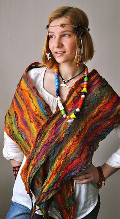 "Handfelted cobweb-scarf ""Rainbow Children"" by ShellenDesign, via Flickr"