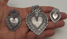 ANTIQUE OLD 3 Sacred Heart Jesus Ex Voto MILAGRO MIRACLES STERLING SILVER 925