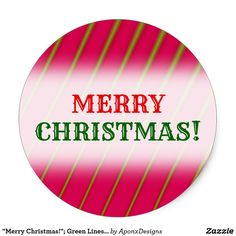 Green Lines on Crimson Pattern Classic Round Sticker created by AponxDesigns. Christmas Stickers, Merry Christmas, Green, Pattern, Merry Little Christmas, Patterns, Wish You Merry Christmas, Model, Swatch