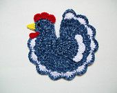 Crochet Blue Chicken Rooster Farm Animal Pot Holder Potholder Hot Pad Kitchen Decor Housewarming Gift