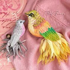 "Miniature hand painted natural silk and cotton beaded 'SILVER PEONY' (left) & 'ROSEHIP' (right) textile bird brooches from the ""Birds of Paradise"" series ....................................................................................... by Julia Gorina"