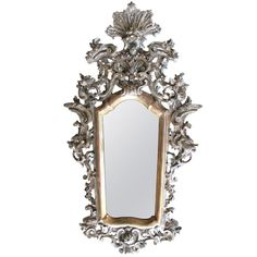 Exuberantly Carved Venetian Rococo Silver & Gold Giltwood Mirror via www.bonnietsang.com