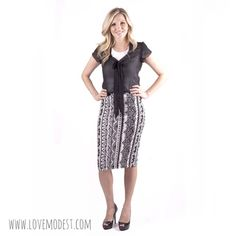 Black & White Aztec Skirt $18 www.lovemodest.com