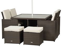 milano rattan garden furniture glass dining table cube set with 4 high back chairs 4 stools