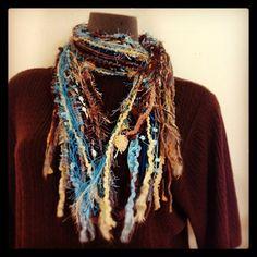 Fun scraggle scarf in variegated fall colors