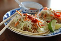 Coconut Chicken Tacos (pulled chicken cooked in crockpot with Asian slaw)