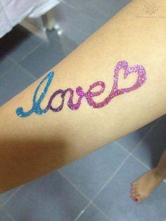 Love Glitter Tattoo On Arm