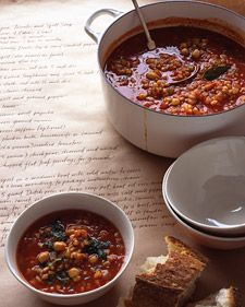 Read Whole Living's Chickpea, Tomato, and Spelt Soup recipe.